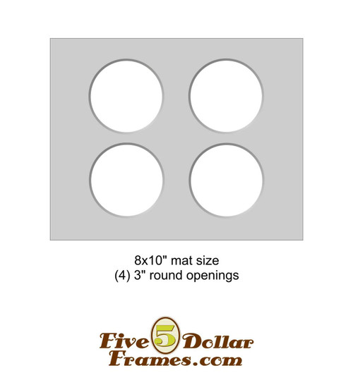 "8x10"" Matboard - 4 Circle Openings"