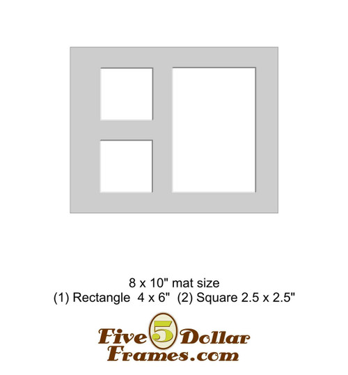 """8x10"""" Matboard - 1 Rectangle / 3 Square Openings"""