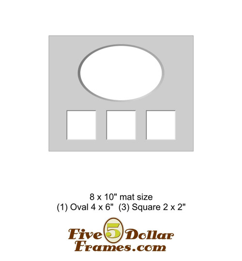 """8x10"""" Matboard - 1 Oval, 3 Square Openings"""