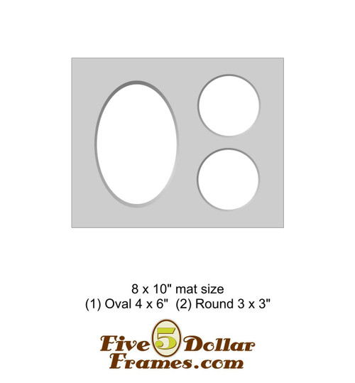 """8x10"""" Matboard - 1 Oval / 2 Round Openings"""