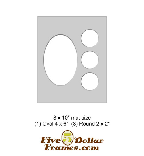 "8x10"" Matboard - 1 Oval / 3 Round Openings"