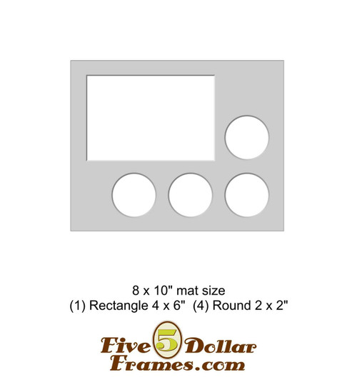 """8x10"""" Matboard - 1 Rectangle / 4 Round Openings"""