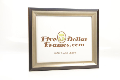 Modern Silver Leaf Slope with Expresso Edge Picture Frame