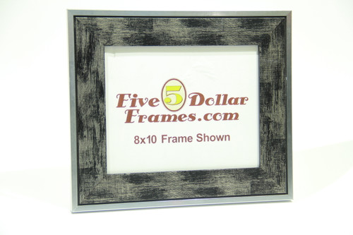 "310-270 2"" Silver Hatch w/Black Detail Picture Frame"