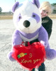 American Made Giant Stuffed Purple Panda Bear 32-inch, Holds I LOVE YOU Heart Pillow, Made in USA