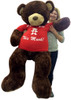 5 Foot Giant Teddy Bear Soft Brown 60 Inches, Wears Removable T-shirt I Love You This Much