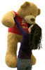 5 Foot Giant Teddy Bear Soft 60 Inch, Wears Removable T-shirt I LOVE YOU THIS MUCH