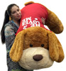 Giant Romantic Plush Puppy Huge 5 Feet Long Squishy Soft Wears HE LOVES ME T-Shirt Great For Valentine's Day or ANY Day to Show Your Love