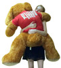 Big Plush Dog Huge 5 Foot Long Valentine's Day Giant Stuffed Animal Soft Wears HUGS AND KISSES XO XO T-Shirt