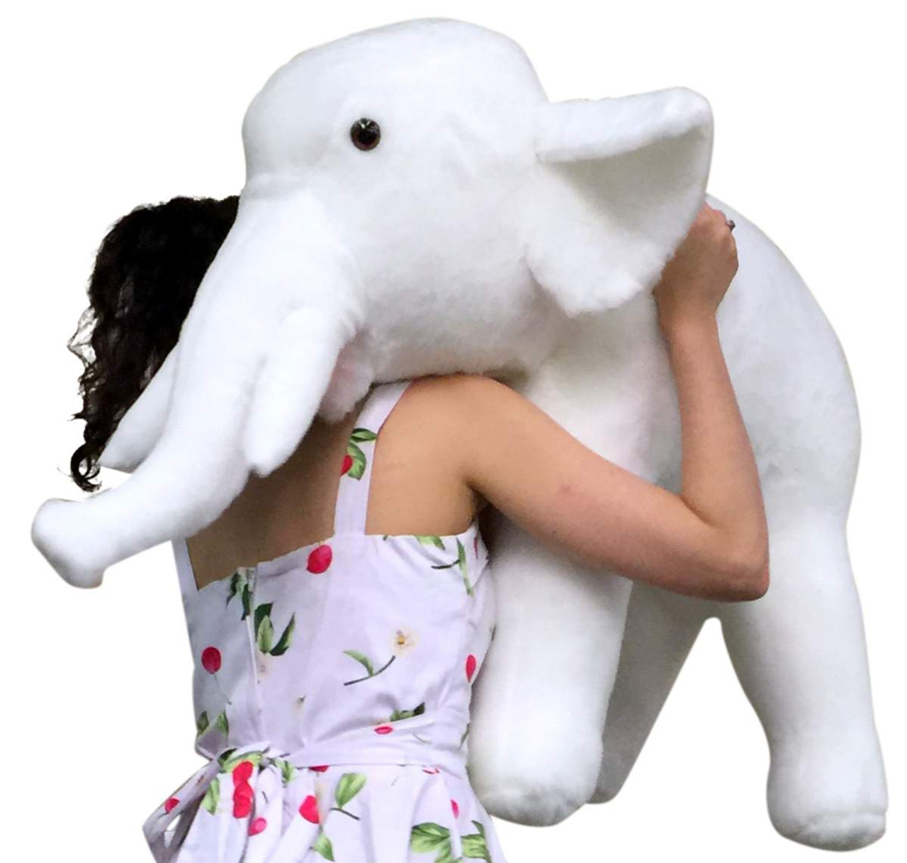 American Made Giant Stuffed White Elephant 3 Feet Long Soft Large