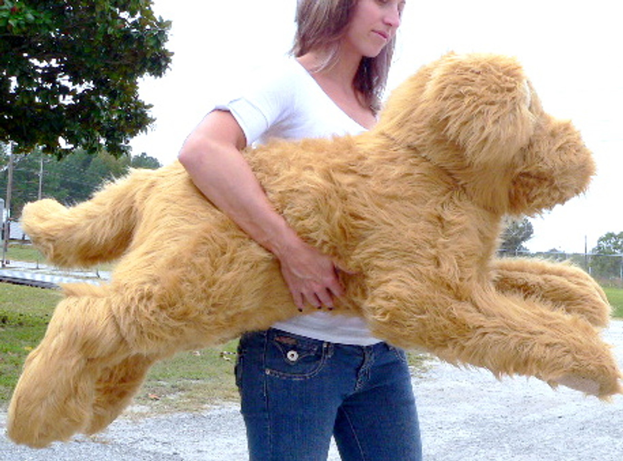 American Made Giant Stuffed Dog 42 Inches Long Laying Down Golden