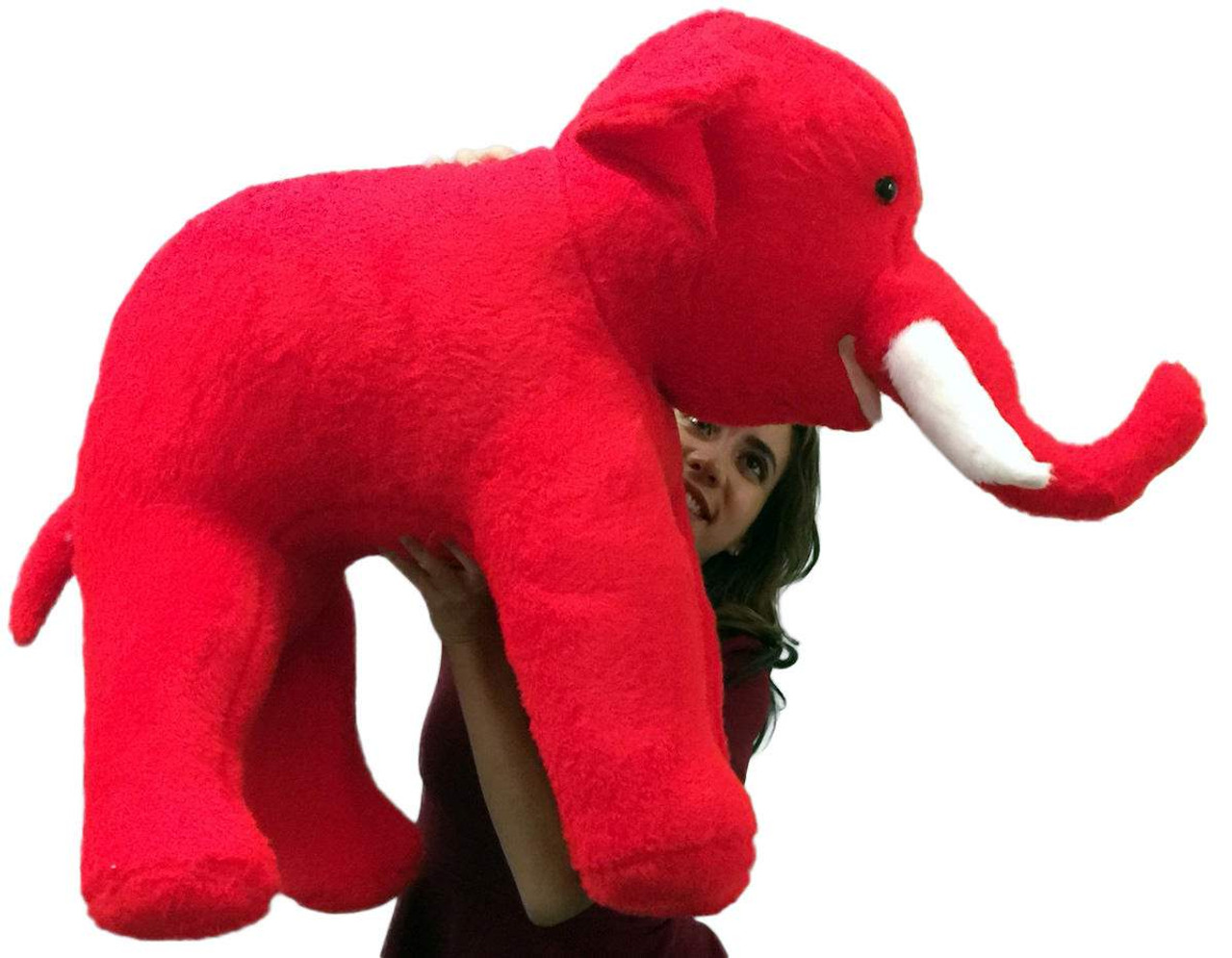 American Made Large Stuffed Red Elephant 36 Inch Big Plush Animal