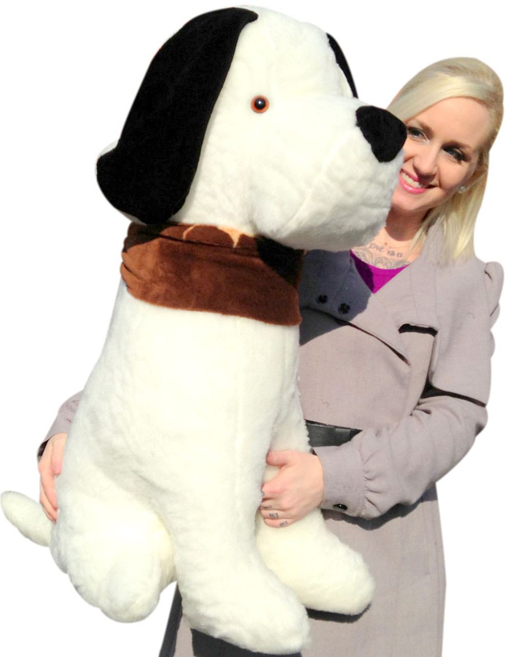 Giant Stuffed Puppy Dog 3 Feet Tall Sits On Its Own Without