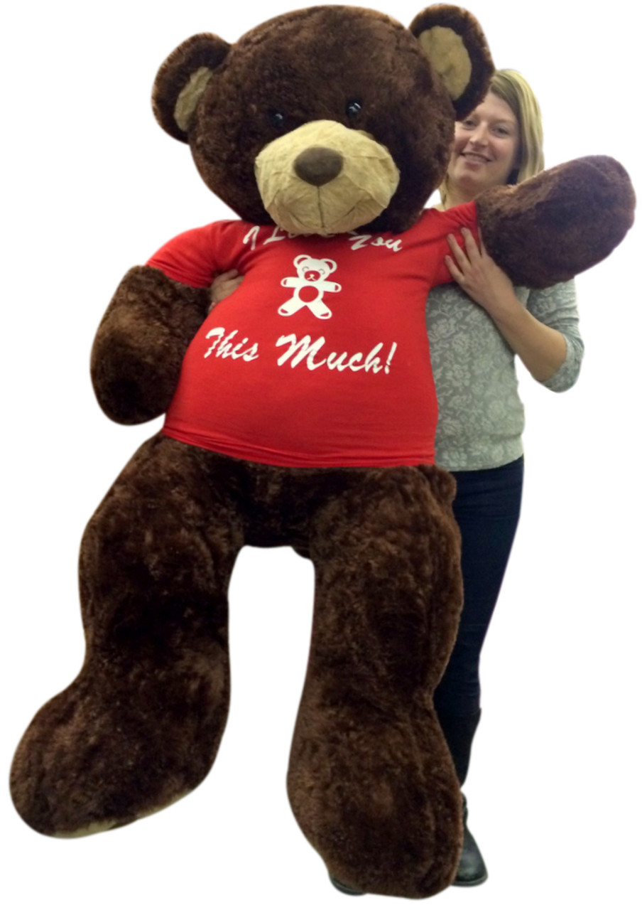 5 Foot Giant Teddy Bear Soft Brown 60 Inches Wears Removable T