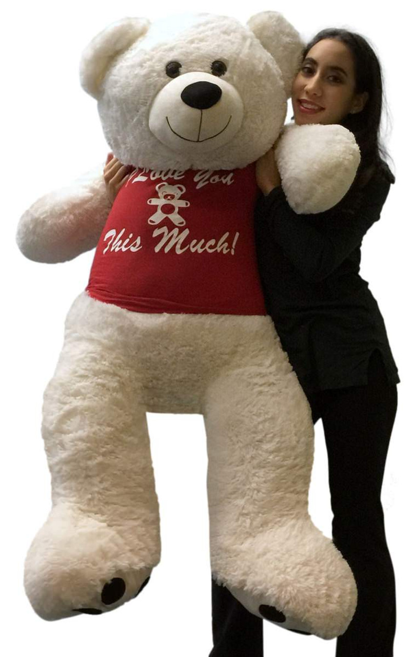 ca4e98b61 Giant Teddy Bear 52 Inch Soft White Wears Removable Tshirt I LOVE YOU THIS  MUCH - Big Plush Personalized Giant Teddy Bears Custom Stuffed Animals