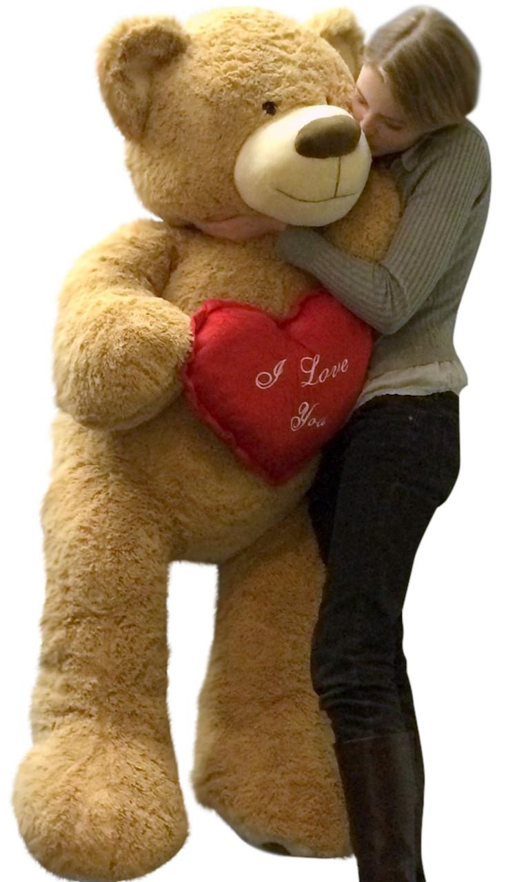 Red Teddy Bear 5 Feet, I Love You Giant Teddy Bear 5 Foot Soft Tan 60 Inch Holds Heart Pillow Big Plush Personalized Giant Teddy Bears Custom Stuffed Animals