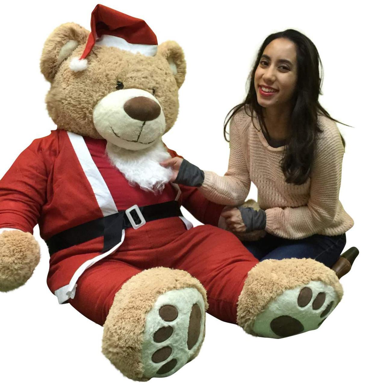 Giant Christmas Teddy Bear 60 Inch Soft Wears Santa Claus Suit 5