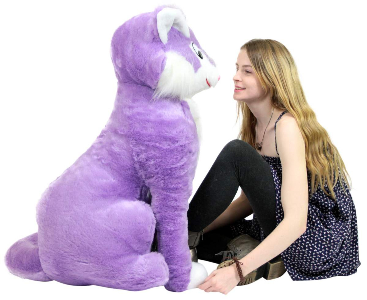 American Made Giant Stuffed Purple Cat 40 Inches Soft Oversize Plush