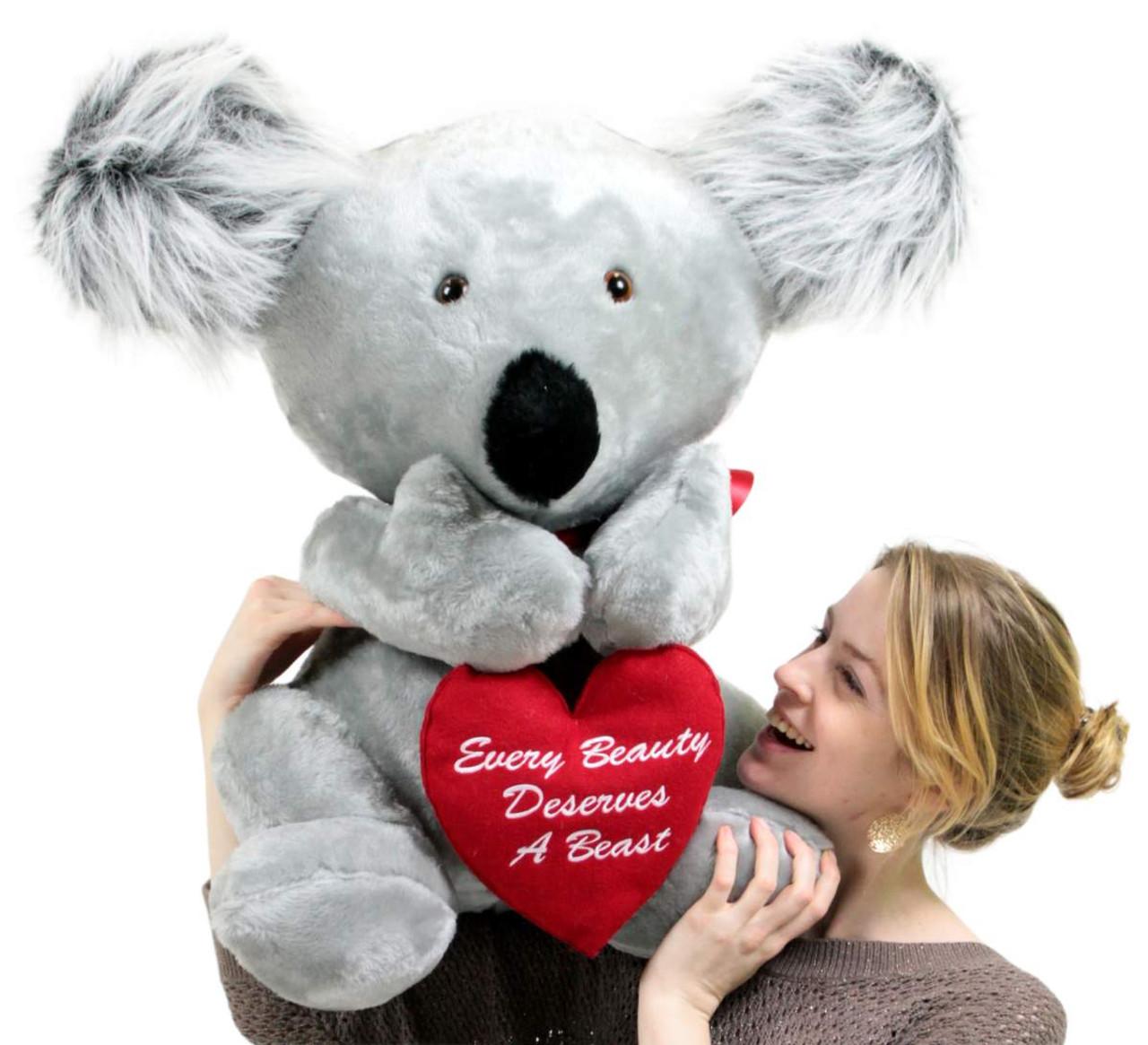 American Made Romantic Large Stuffed Koala 26 Inch Soft Holds Heart