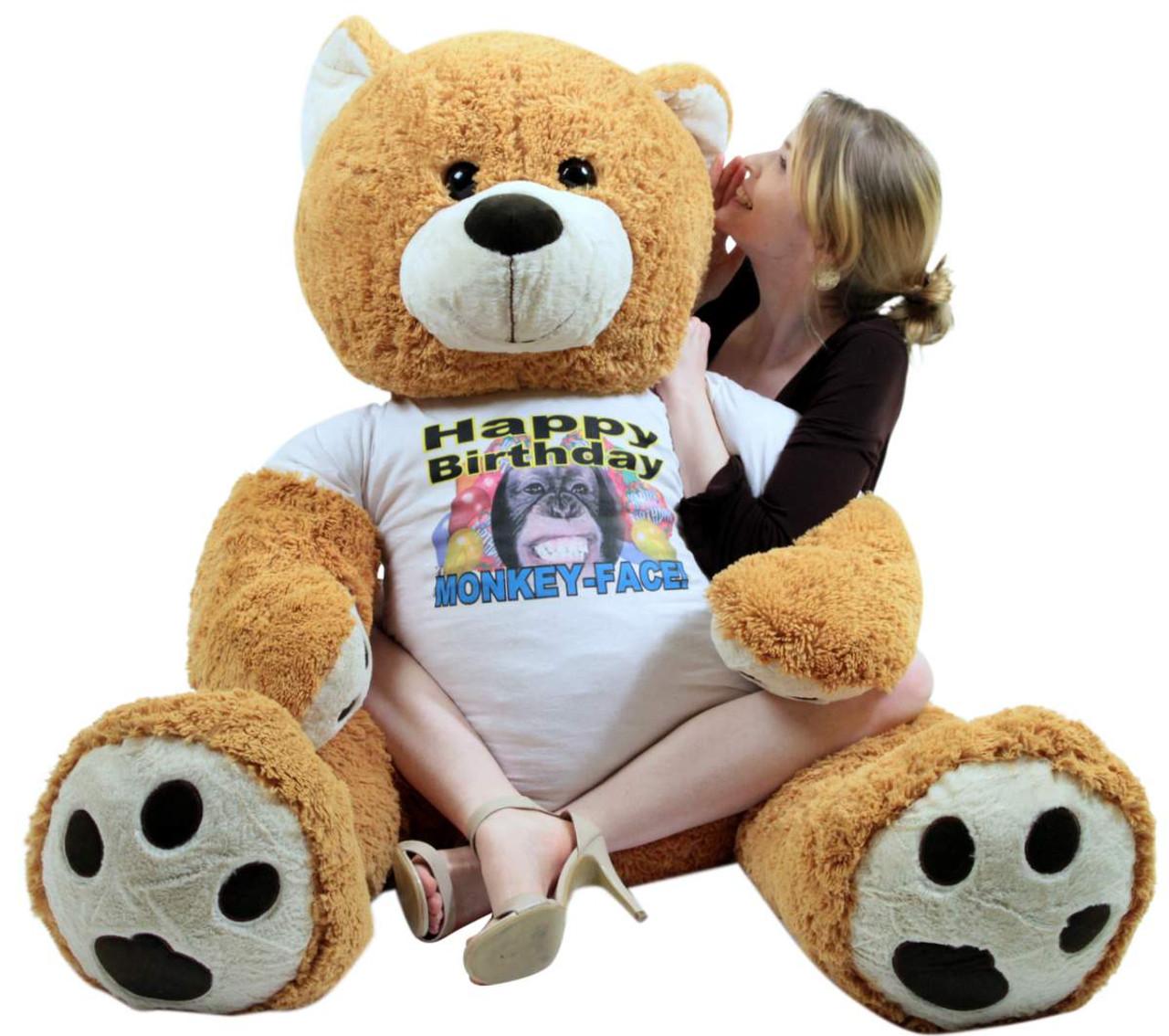 Giant Happy Birthday Teddy Bear 55 Inches Honey Brown ...