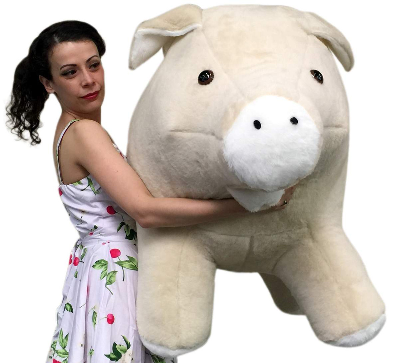 American Made Giant Stuffed Pig 40 Inch Brown Soft Plush Hog Made In
