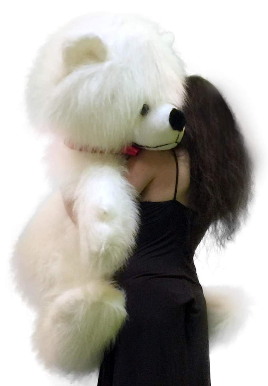 American Made Giant White Teddy Bear Long Fur Soft Valentines Day