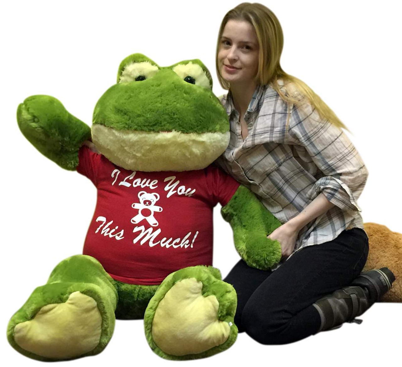 Giant Stuffed Frog Wears I Love You This Much Tshirt 48 Inch Soft