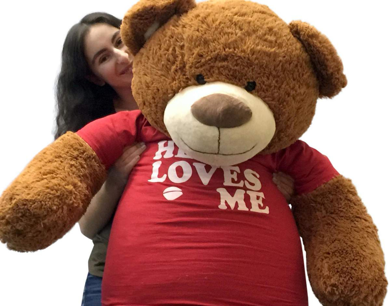 da6de9867e5 ... Big Plush 5 Foot Giant Teddy Bear 60 Inch Soft Brown Wears HE LOVES ME T  ...