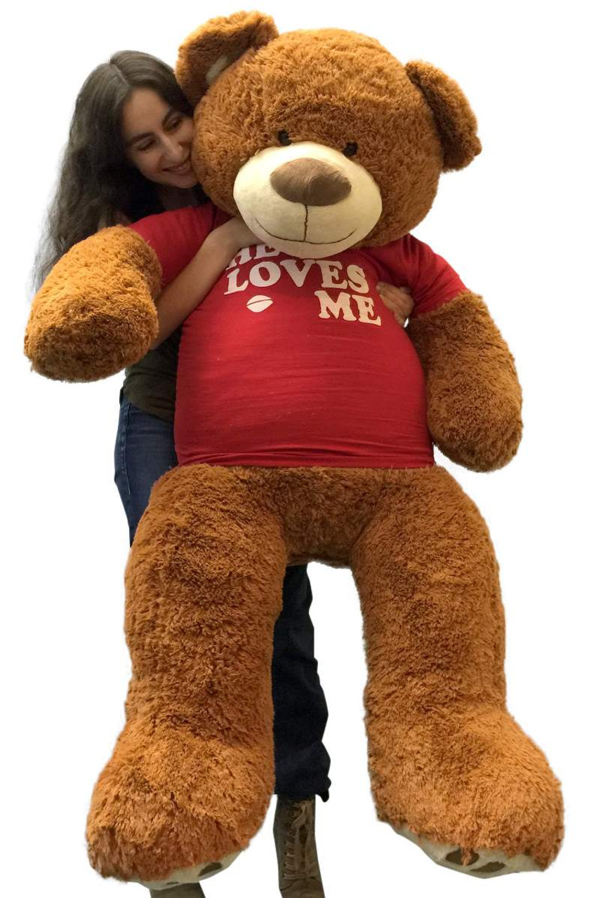 a65d78bf7d3 Big Plush 5 Foot Giant Teddy Bear 60 Inch Soft Brown Wears HE LOVES ME T- shirt - Big Plush Personalized Giant Teddy Bears Custom Stuffed Animals