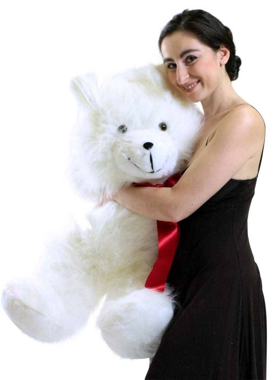 2d525399faa ... USA  Valentine s Day Jumbo 3 Foot Teddy Bear 36 Inch Soft White  Teddybear Made in ...