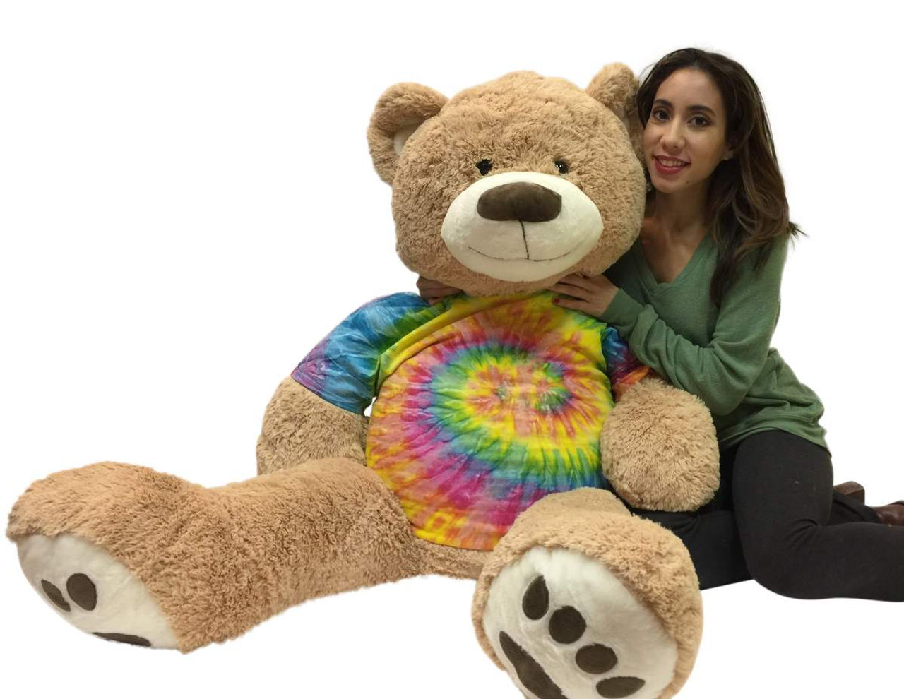 15c655eb2c6 Big Plush Giant Teddy Bear 5 Feet Tall Wears Removable Tie Dye T-shirt
