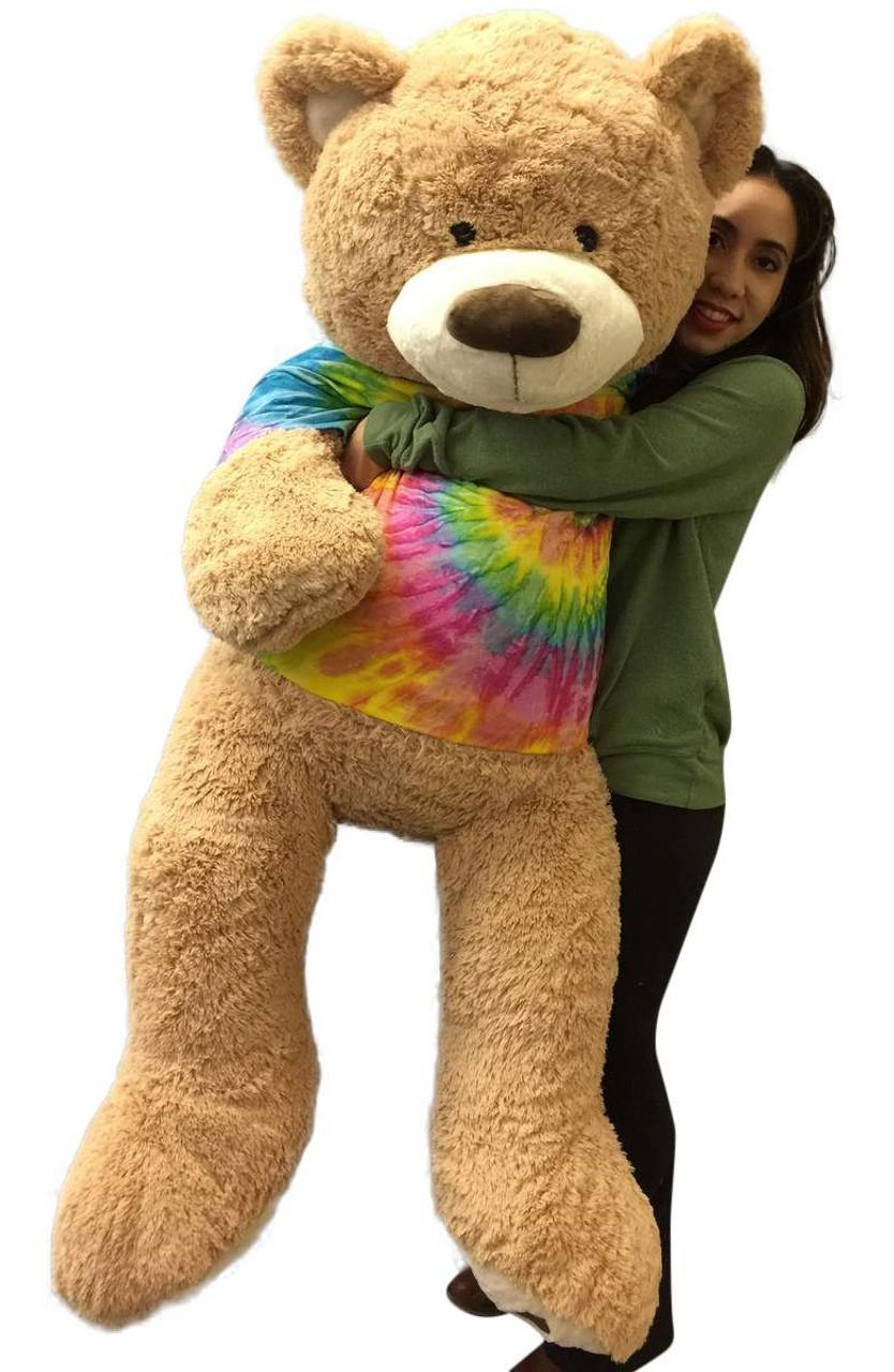 Big Plush Giant Teddy Bear 5 Feet Tall Wears Removable Tie Dye T-shirt, T