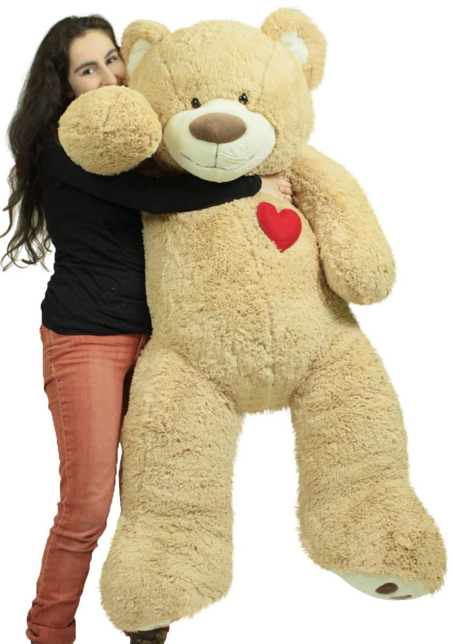 Giant 5 Foot Teddy Bear 60 Inch Soft Plush Animal Heart On Chest To Express Love