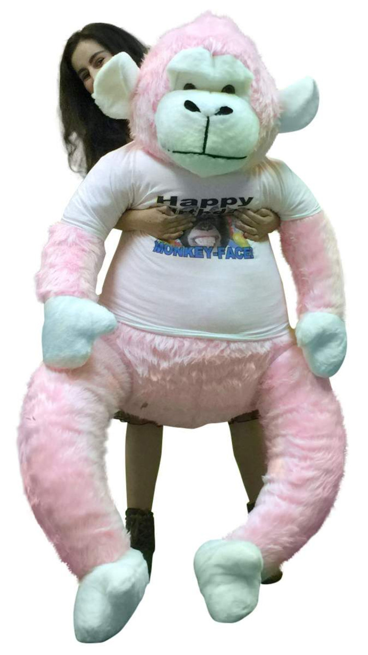 American Made 6 Foot Giant Stuffed Pink Gorilla Wears Removable