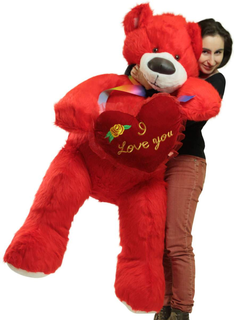 Red Teddy Bear 5 Feet, Life Size 5 Foot Red Teddy Bear With I Love You Heart Pillow Big Plush Soft Stuffed Animal Made In Usa Big Plush Personalized Giant Teddy Bears Custom Stuffed Animals