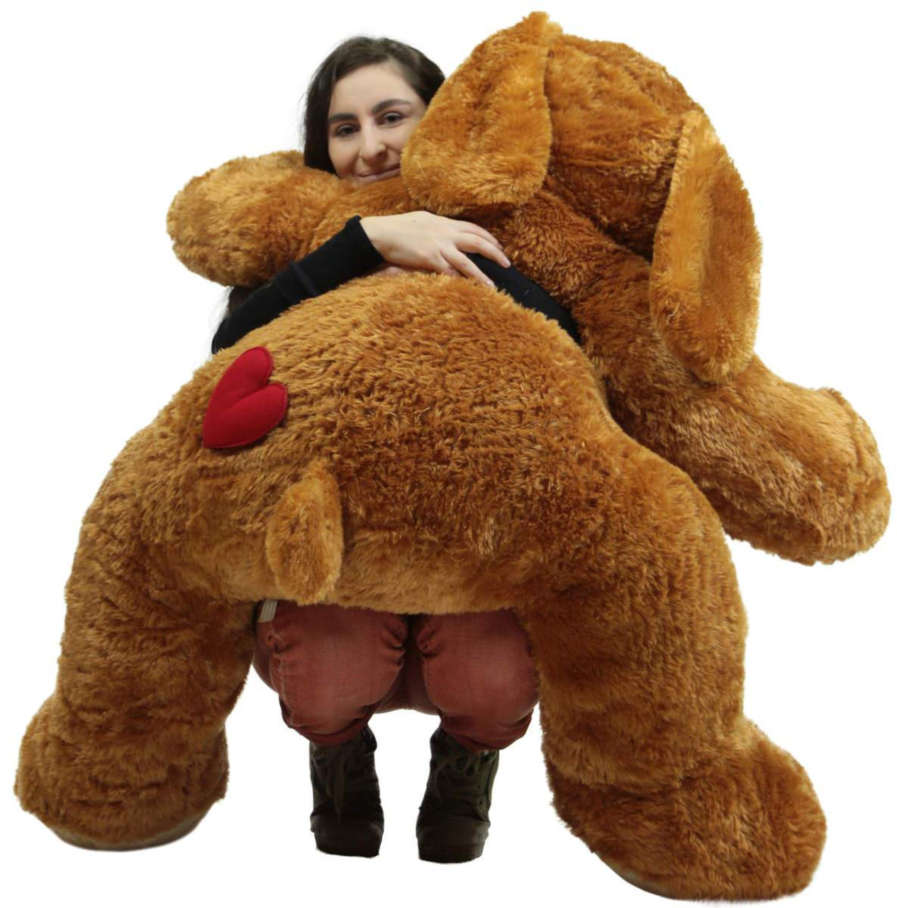 giant stuffed puppy dog with heart on butt 5 feet long soft extremely large plush brown stuffed. Black Bedroom Furniture Sets. Home Design Ideas