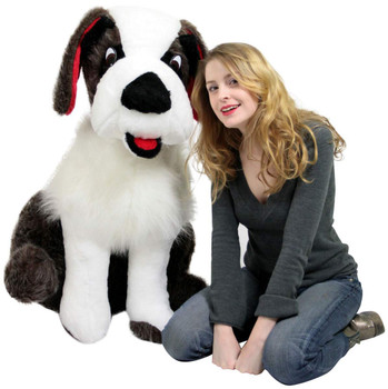 American Made Life Size Stuffed Saint Bernard 38 Inch Soft Big Plush Dog Whimsical Pooch