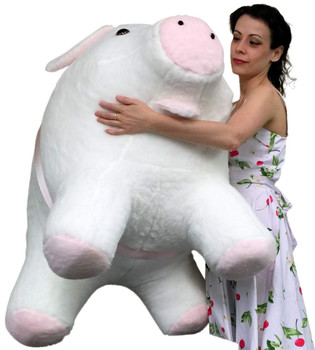 American Made Giant Stuffed Pig 40 Inch Soft White with Pink Accents 3 Feet Wide Made in USA