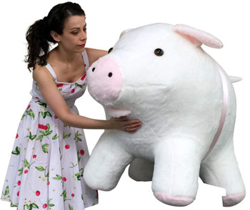 Gigantic stuffed pig white color huge plush animal made in the USA by Big Plush