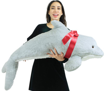 Huge stuffed dolphin measures almost four feet long and is made in the USA by Big Plush.
