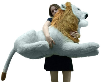 American Made Giant Stuffed Lion 4 Feet Long Soft Huge Stuffed Animal