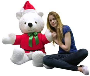 American Made Giant Santa Bear 54 Inch Soft Big Plush Life Size Christmas Teddy Bear