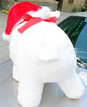 American Made Big Stuffed Pig Extra Large 27 Inches 69 cm Soft White Color wears Christmas Santa Hat Made in the USA