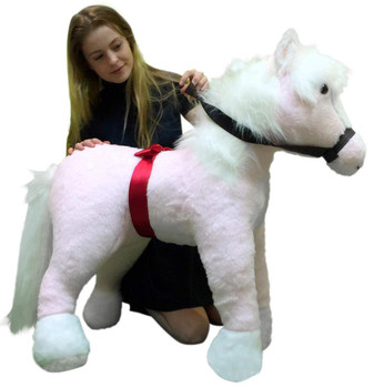 American Made Giant Stuffed Pink Pony 3 feet tall 3 feet wide Stuffed Horse Made in USA
