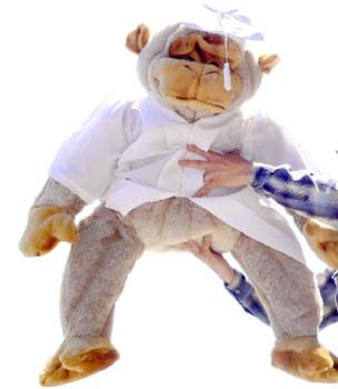American Made Giant Stuffed Graduation Gorilla 40 Inches Big Plush Grad Monkey Tan Color