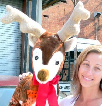American Made Jumbo Stuffed Reindeer 37 Inch Big Plush Soft Plush Deer