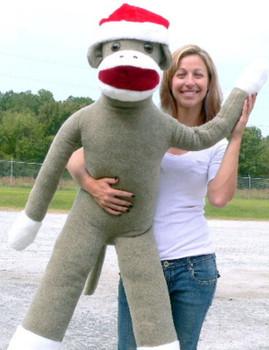 American Made Big Plush Christmas Sock Monkey 54 inches tall Wearing Red Santa Hat