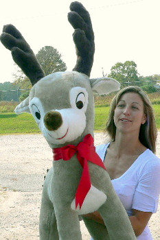 American Made Giant Stuffed Reindeer 4 Feet Tall Large Plush Deer 48 inches Made in America