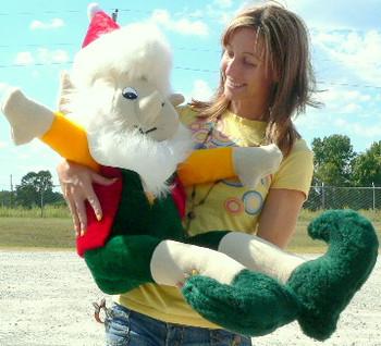 American Made Giant Stuffed Elf 5 Foot Big Christmas Plush White Beard