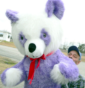 American Made 6 Foot Purple Teddy Bear Panda Giant Plush Soft Stuffed Animal Made in the USA America